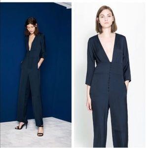 Zara Navy Blue Jumpsuit Size Small